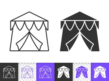 Circus Tent black linear and silhouette icons. Thin line sign of carnival. Event outline pictogram isolated on white, color, transparent background. Vector Icon shape. Marquee simple symbol closeup Stock Illustratie
