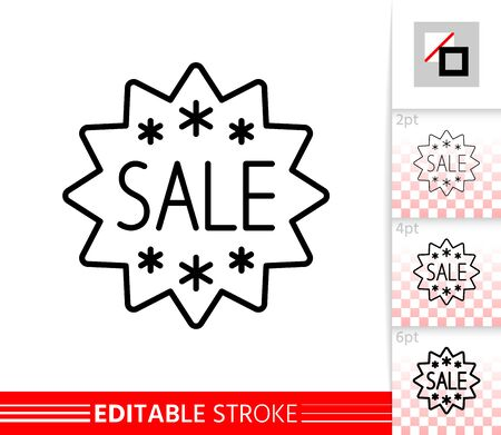 Sale Banner thin line icon. Sticker Deal banner in flat style. Discount Coupon. Linear pictogram. Simple illustration, outline symbol. Vector sign isolated on white. Editable stroke icons without fill Stock Illustratie