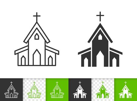 Church black linear and silhouette icons. Thin line sign of building. Chapel outline pictogram isolated on white, color, transparent background. Vector Icon shape. Religion house simple symbol closeup