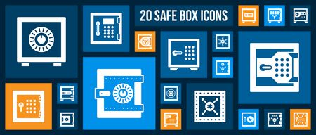 Safe silhouette icons set. Isolated web sign kit of bank cell. Keep Money pictogram collection includes cash deposit, privacy protection, treasure. Simple white contour symbol. Safe vector Icon shape Çizim