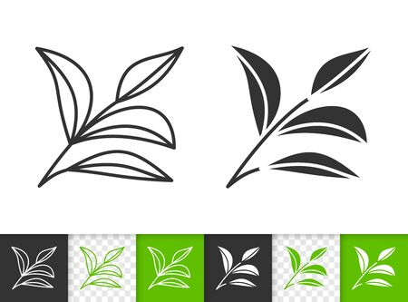 Leaf black linear and silhouette icons. Thin line sign of plant. Branch outline pictogram isolated on white, color, transparent background. Vector Icon shape. Herb simple symbol closeup