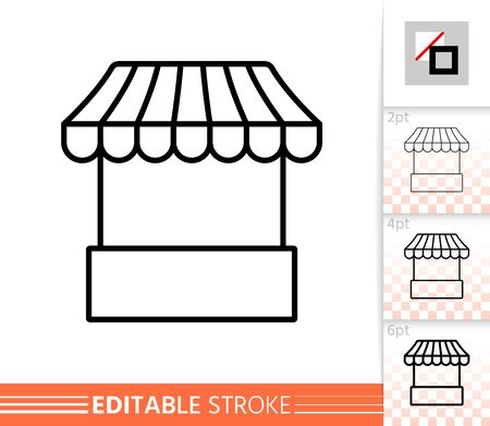Street Cart thin line icon. Fast Food banner in flat style. Market poster. Linear pictogram. Simple illustration, outline symbol. Vector sign isolated on white. Editable stroke icons without fill Illustration