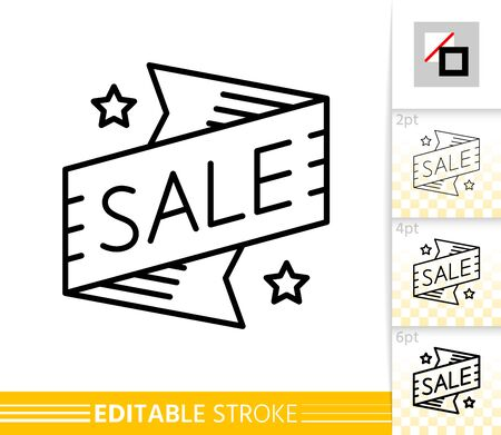 Sale Banner thin line icon. Ribbon Badge banner in flat style. Sticker Deal poster. Linear pictogram. Simple illustration, outline symbol. Vector sign isolated on white. Editable stroke icons Stock Illustratie