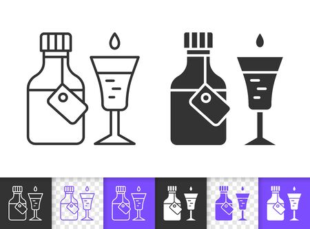 Medicine black linear and silhouette icons. Thin line sign of syrup cough. Bottle Medical outline pictogram isolated on white, transparent background. Vector Icon shape. Pharmacy simple symbol closeup
