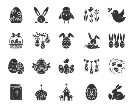 Easter silhouette icons set. Web sign kit of egg. Bunny Rabbit pictogram collection includes cake, spring flower, basket. Simple easter black symbol isolated on white. Vector Icon shape for stamp