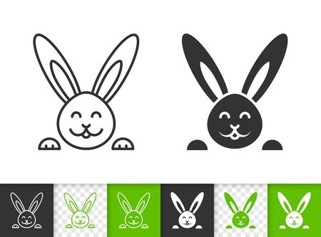 Easter black linear and silhouette icons. Thin line sign of bunny. Rabbit outline pictogram isolated on white, green, transparent background. Vector Icon shape. Spring holiday simple symbol closeup