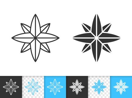 Wind Rose black linear and silhouette icons. Thin line sign of compass. Map outline pictogram isolated on white, color, transparent background. Vector Icon shape. Star simple symbol closeup