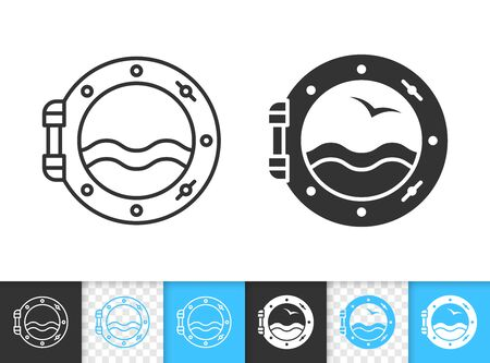 Porthole black linear and silhouette icons. Thin line sign of ship window. Nautical outline pictogram isolated on white, color, transparent background. Vector Icon shape. Porthole simple symbol Stock Illustratie