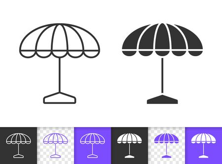 Street Umbrella black linear and silhouette icons. Thin line sign of beach parasol. Outdoor Cafe outline pictogram isolated on white background. Vector Icon shape. Summer tent simple symbol closeup Stock Illustratie