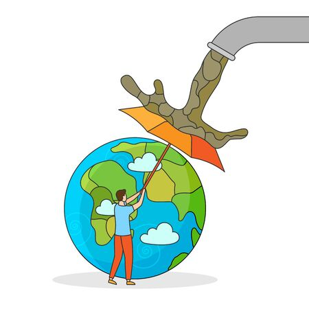 Man take care and save green planet. Concepting protect nature and ecology with umbrella. Stop Pollution Earth banner. Caring The Globe design poster. People color creative vector illustration Stock Illustratie