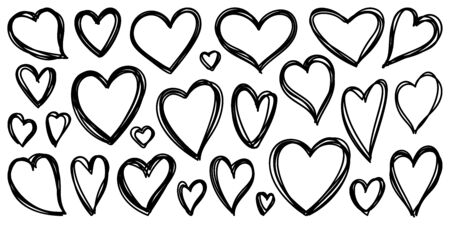 Heart hand drawn style. Outline doodle icons set. Line sign of love. Valentine day scribble grunge icon collection. Simple sketch black hearts contour. Romantic wedding vector symbol isolated on white