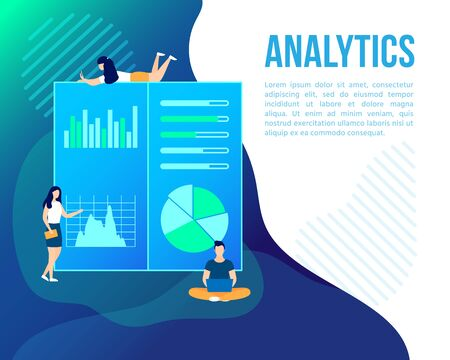 Young people make business project, analytic presentation, statistic or infographic analysis investment on diagrams on screen or board. Financial Strategy banner. Startup poster. Vector illustration