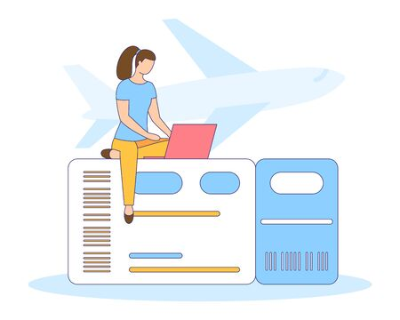 Girl buy, search or booking online, air, bus or train ticket. Travel banner. Planning vacation, search tourist tour, flight, ground trip. modern graphic design poster. People vector illustration