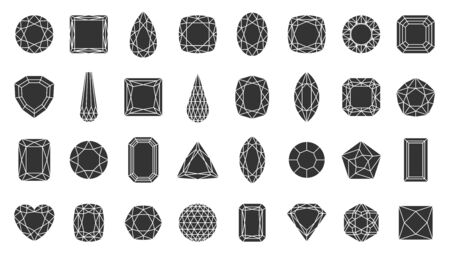 Diamond faceted silhouette icons set. Gem symbol, simple shape pictogram collection. Jewel design element. Gemstone crystal, ruby, emerald flat black sign. Isolated on white icon vector illustration