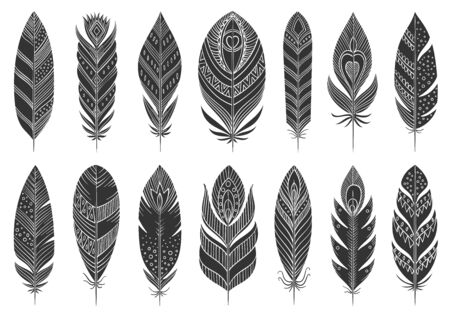 Feather boho black silhouette set. Tribal symbol, simple shape pictogram collection. Ethnic indian, aztec doodle style flat element. Hand drawn design sign. Isolated on white icon vector illustration