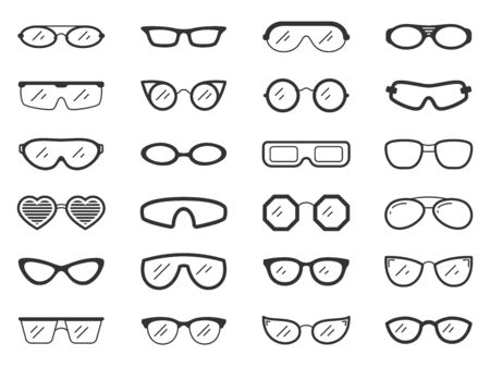 Glasses silhouette icons set. Sunglass symbol, simple shape pictogram collection. Frame design element. Hipster, nerd, optic eyeglasses black sign. Isolated on white icon concept vector illustration Stock Illustratie