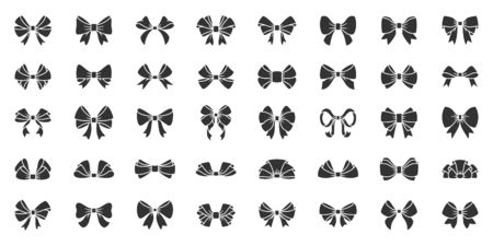 Ribbon bow silhouette icons set. Fashion tie symbol, simple shape pictogram collection. Gift, sale or holidays decor design element. Flat black sign. Isolated on white icon concept vector illustration