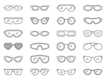 Glasses thin line icon set. Eye frame collection of simple outline signs. Sunglass symbol in linear style. Hipster, nerd, optic eyeglasses, contour icons design. Isolated on white vector Illustration Vector Illustration