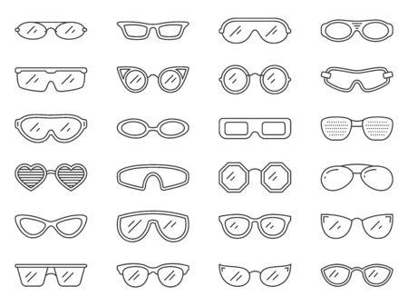 Insieme dell'icona di occhiali linea sottile. Collezione di cornici per gli occhi di semplici segni di contorno. Simbolo di occhiali da sole in stile lineare. Hipster, nerd, occhiali da vista, design di icone di contorno. Isolato su bianco illustrazione vettoriale Vettoriali