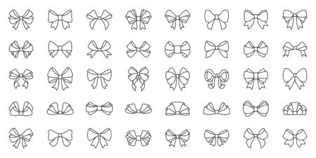 Bow ribbon thin line icon set. Gift birthday xmas or sale decor collection of simple outline signs. Fashion tie symbol in linear style. Contour flat icons design. Isolated on white vector Illustration