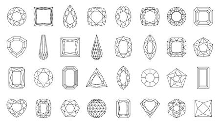 Diamond faceting thin line icon set. Gem collection of simple outline signs. Jewel symbol in linear style. Crystal, gemstone black contour icons design. Isolated on white concept vector Illustration Stock Illustratie