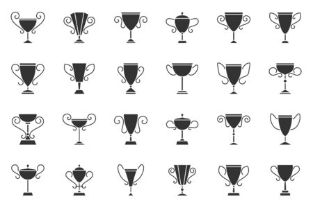 Champion silhouette icons set. Trophy symbol, simple shape pictogram collection. Cup design elements kit. Game, first, success flat black sign. Isolated on white icon concept vector illustration
