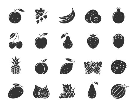 Fruit silhouette icons set. Summer food symbol, simple shape pictogram collection. Berry design element. Banana, orange, kiwi, apple flat black sign. Isolated on white icon concept vector illustration