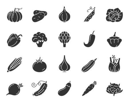 Ensemble d'icônes de silhouette végétale. Symbole de nourriture, collection de pictogrammes de forme simple. Élément de design végétarien. Citrouille, pomme de terre, maïs, pois plat noir signe isolé sur illustration vectorielle icône blanche concept