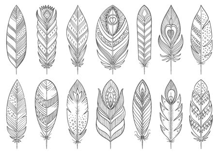 Boho feather hand drawn line set. Tribal plume collection of simple outline signs. Ethnic indian, aztec, vintage linear symbol. Sketch contour flat icon design. Isolated on white vector Illustration Stock Illustratie