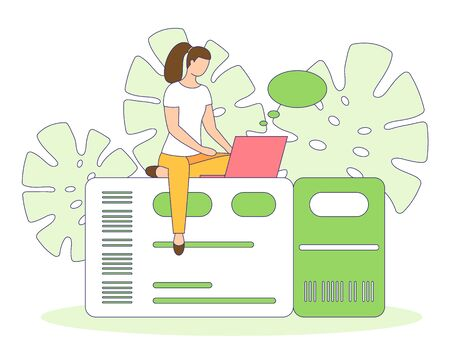 Girl booking search or buy air, bus, train ticket online, using laptop. Travel chat banner. Planning vacation trip, tourist tour design poster People creative vector illustration, filled outline style Stock Illustratie