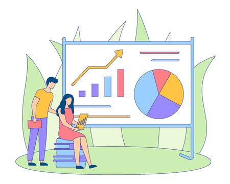 Students girl and guy make statistic or infographic project. People present analytic presentation, analysis on diagram using big board. Financial Strategy banner. Startup poster. Vector illustration Stock Illustratie