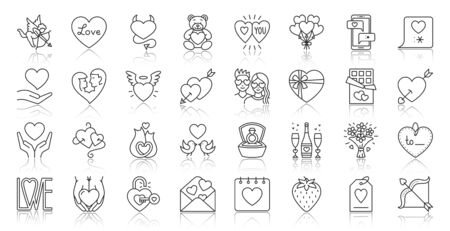 Valentines Day thin line icon set. Outline web sign kit of romantic love. Couple Hearts linear icons of gift box, mobile chat, sweet kiss. Simple february 14 black contour symbol. Vector Illustration