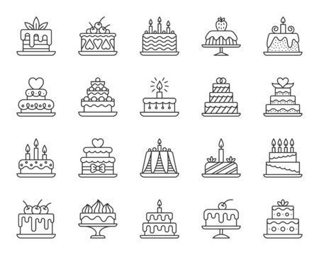 Cake dessert thin line icon set. Outline web sign kit of sweet food. Birthday party linear icons of homemade baking, chocolate delicious. Simple cupcake contour symbol on white. Vector Illustration Ilustrace