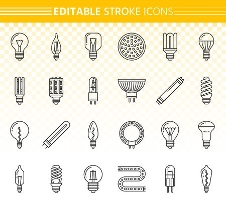 Light Bulb thin line icon set. Outline sign kit of glass lamp. Lightbulb linear icons of creative idea, bright shine, fluorescent glow. Editable stroke without fill. Power simple contour vector symbol