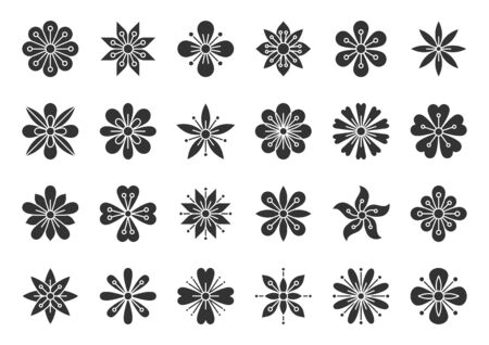 Abstract Flower silhouette icons set. Sign kit of spring floral. Minimal Style pictograms of tribal ethnic, cute decoration, yoga label. Simple plant black symbol isolated. Vector Icon shape for stamp Ilustracja