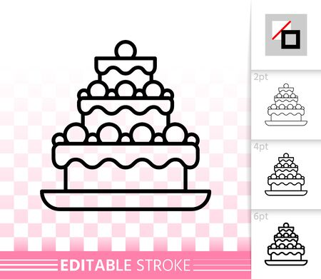 Cake Dessert thin line icon. Outline web sign of sweet food. Birthday Party linear pictogram with different stroke width. Simple vector transparent symbol. Baking editable stroke icon without fill