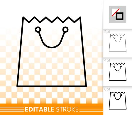 Shopping Bag thin line icon. Outline web sign of package. Sale linear pictogram with different stroke width. Simple vector symbol transparent background. Paper packet editable stroke icon without fill