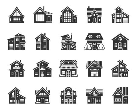 House silhouette icons set. Web sign kit of home exterior. Township pictogram collection includes residence, chalet, rent. Simple cottage black symbol isolated on white. Vector Icon shape for stamp Stock Illustratie