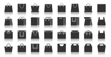 Shopping Bag silhouette icons set. Monochrome web sign kit of package. Sale pictogram collection includes paper packet, handle, gift. Simple vector black symbol. Packaging shape icon with reflection