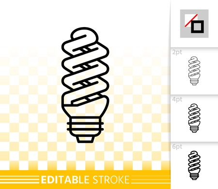 Fluorescent light thin line icon. Outline sign of glass lamp. CFL linear pictogram with different stroke width. Simple vector transparent symbol. Energy saving lamp editable stroke icon without fill