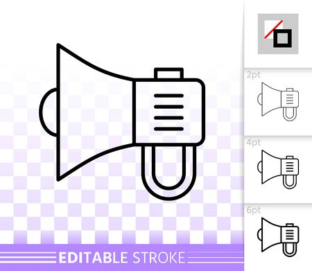 Megaphone thin line icon. Outline loud speaker sign. Bullhorn linear pictogram with different stroke width. Simple vector symbol, transparent background. Announce editable stroke icon without fill