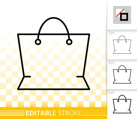 Shopping Bag thin line icon. Outline web package sign. Sale linear pictogram with different stroke width. Simple vector symbol, transparent background. New packaging editable stroke icon without fill Иллюстрация