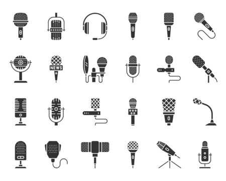 Microphone silhouette icons set. Web sign kit of mic. Journalist Interview pictograms of conference technology, song, vocal. Simple voice recorder black symbol isolated on white. Vector Icon shape Vectores