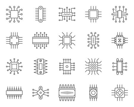 Micro chip thin line icon set. Outline sign kit of cpu. PC component linear icons of abstract circuit, hi tech, electronic technology. Computer core simple contour symbol isolated. Vector Illustration Ilustração