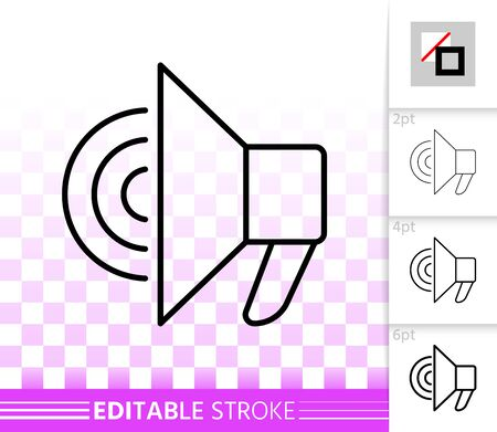 Megaphone thin line icon. Outline loud speaker sign. Bullhorn linear pictogram with different stroke width. Simple vector symbol, transparent background. Loudspeaker editable stroke icon without fill