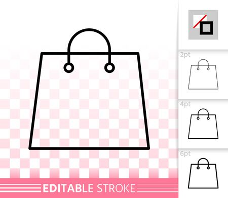 Shopping Bag thin line icon. Outline web sign of package. Sale linear pictogram with different stroke width. Simple vector symbol, transparent background. Eco handbag editable stroke icon without fill