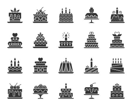 Cake dessert icons set. Sign kit of sweet food. Birthday party pictograms of cupcake design, candle decoration, strawberry cream. Simple delicious black symbol isolated on white. Vector Icon shape