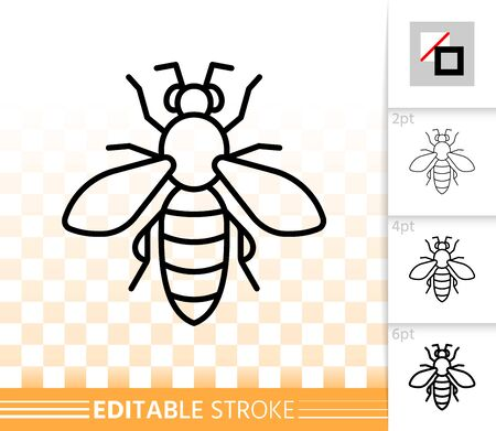 Honey Bee thin line icon. Outline sign of apiary. Apis linear pictogram with different stroke width. Bug simple vector symbol, transparent background. Biting insect editable stroke icon without fill