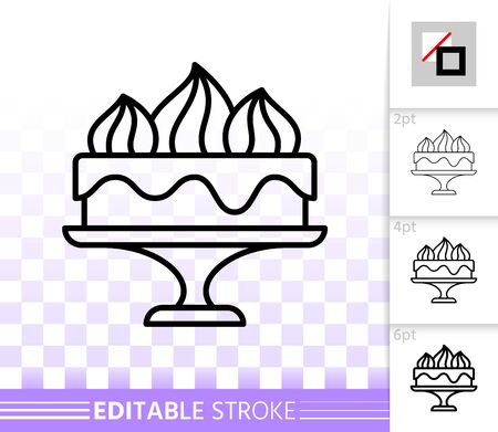 Cake Dessert thin line icon. Outline web sign of sweet food. Birthday Party linear pictogram with different stroke width. Simple vector transparent symbol. Cupcake editable stroke icon without fill Иллюстрация