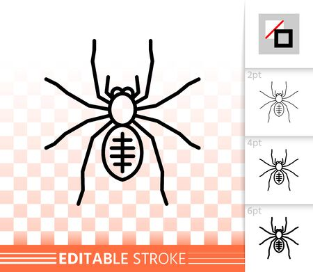 Spider thin line icon. Outline web sign of insect. Tarantula linear pictogram with different stroke width. Simple vector symbol, transparent background. Toxic bug editable stroke icon without fill